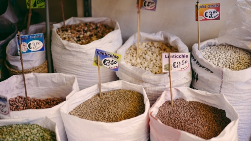 Grains and spices at the Ballarò street market in Palermo, Sicily