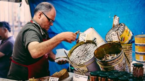 Market vendor at the Ballarò street market