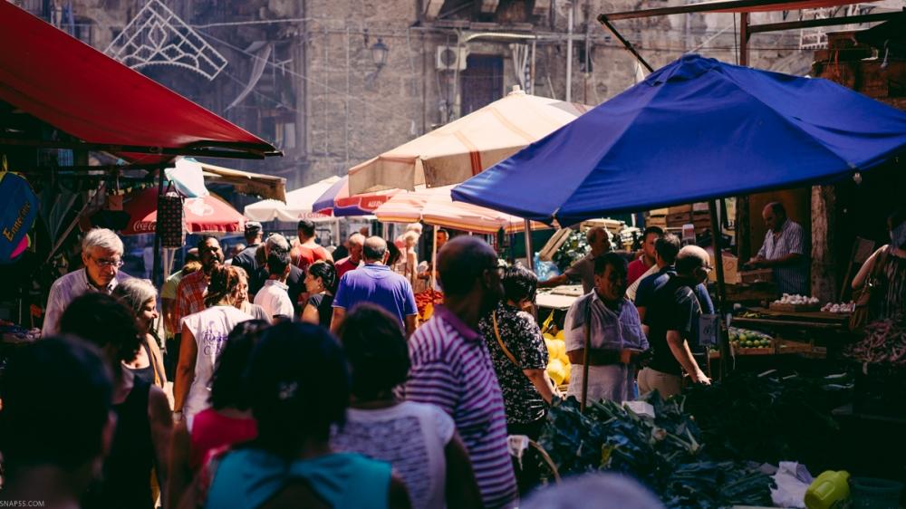 The Ballarò street market in Palermo, Sicily