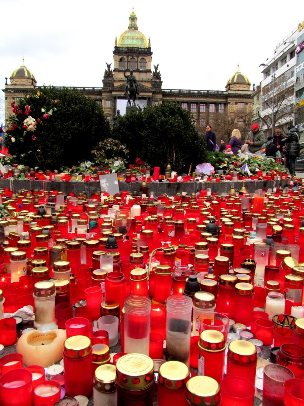 Prague City Centre Filled With Red Candles